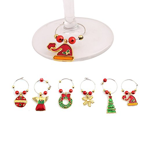 HENGSONG 6PCS Wine Glass Charms Rings Marker Christmas Party Bar Table Decorations (Gold)