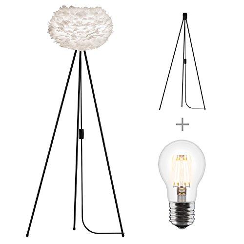 Umage/VITA Eos medium wit vloerlamp voor A++ tot E incl. Tripod en LED A+ frame zwart D 45cm H 139 cm lamp