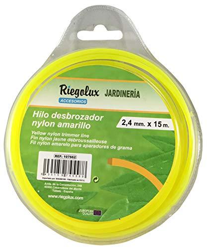 Riegolux 107662 Hilo Desbrozadora Nylon Cuadrada, Amarillo,