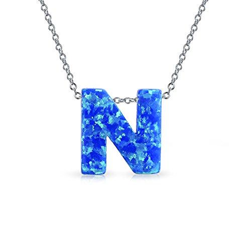 Creado Azul Opal Letra Mayúscula Del Inicial N Inicial Mujer Collar Colgante Plata Esterlina Octubre Piedra Nacimiento