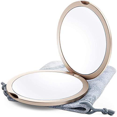 Espejo Compacto con Aumento 1X 10X Espejo de Maquillaje de Doble Cara Dorado Champán, Espejo de Bolsillo Pequeño, Espejo de Bolsillo Pequeño o Espejo de Monedero (Oro Champán)