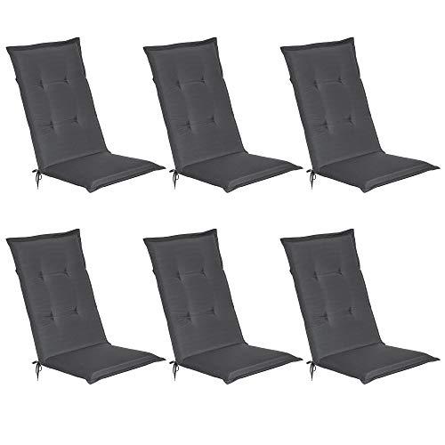 Beautissu Loft HL - Set de 6 Cojines para sillas tumbonas mecedoras de balcón o Asiento Exterior con Respaldo Alto - 120x50x6 cm - Placas compactas de gomaespuma - Gris Grafito
