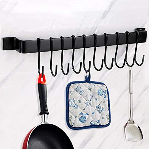 Sumnacon Metal Kitchen Rail Hanger with 10 Hooks - Heavy Duty Utensil Racks for Pan/Pot/Spoon/Lid/Cup/Skillet, Wall Mounted Cookware Holder Hooks with Screws, Black