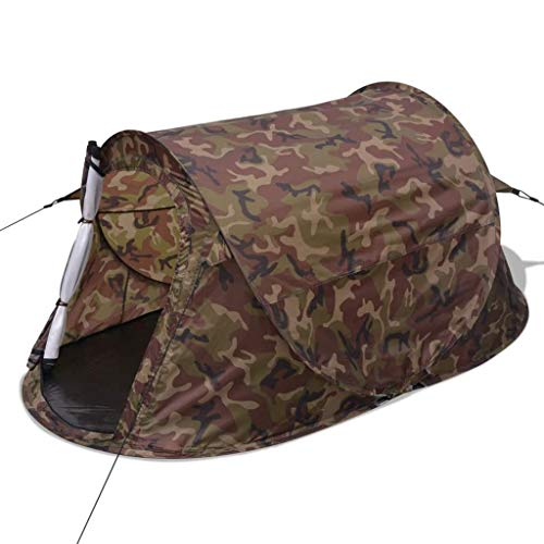 vidaXL 2-Person Pop-up Camping Hiking Tent Waterproof Camouflage Outdoor Family Trip
