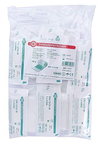 10 x NOBA Verbandpäckchen Verbandspäckchen Verband, steril, DIN13151 Erste Hilfe, Nr. 2 Medium