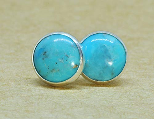 Turquoise earrings, 8mm Sterling Silver studs