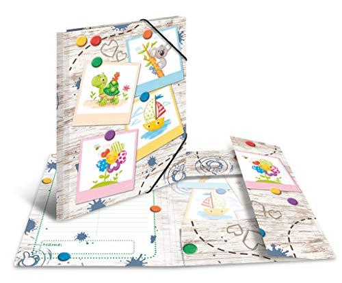 HERMA 19796 Sammelmappe DIN A3 Kindergarten Sandkastenfreunde aus stabilem Karton mit bedruckten Innenklappen, Gummizugmappe, Eckspanner-Mappe, 1 Zeichenmappe für Kinder
