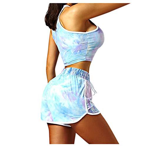 Yowablo Shorts Active Set Sportswear Frauen 2 Stück Krawatte Sport Kordelzug Workout (3XL,Hellblau)