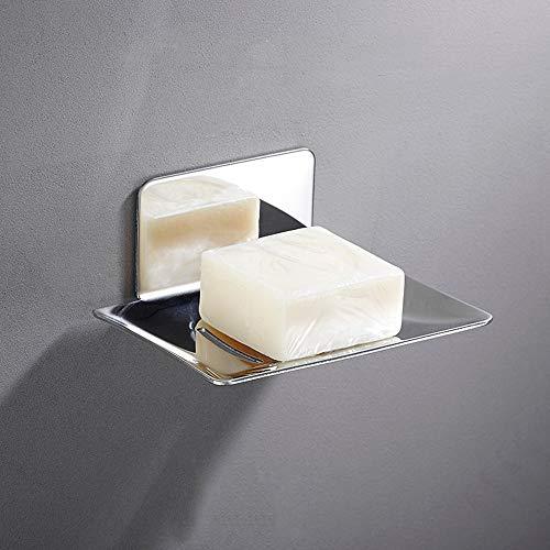 Melairy Selbstklebende Seifenhalter Edelstahl Seifenkorb WC Seifenablage Wand Montage ohne Bohren für Badezimmer Küche Schwämme Bürsten Seife (Chrom, Nagelfrei)