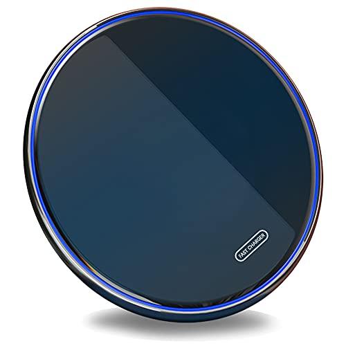 SCCVEE Cargador inalámbrico Qi 15 W Max Fast Wireless Charging Pad con cable USB C compatible con Samsung Galaxy S21, S21 Ultra, S21Plus, S20 Fe, S10, Note 20/10, Google Piexl 5