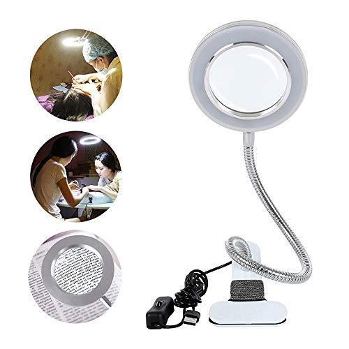 Keyohome Lámpara LED USB Escritorio Lupa 8X Lámpara de Esteticista con Lupa de 8 Dioptrías con Clip Pinza para Leer, Manualidades Tatuaje, Manicura, Belleza