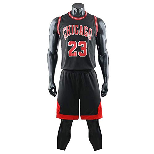 ccaat Herren Michael Jordan # 23 Chicago Bulls Retro Basketball Shorts Sommer Trikots Basketballunifor (L, schwarz)