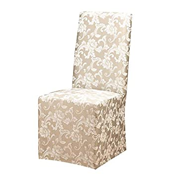 SURE FIT Home Décor Scroll Long Dining Room Chair One Piece Slipcover Relaxed Fit Cotton/Polyester Machine Washable Champagne Color
