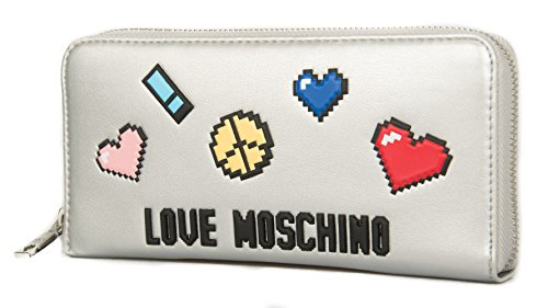 Love Moschino Pixel wallet zip around silver