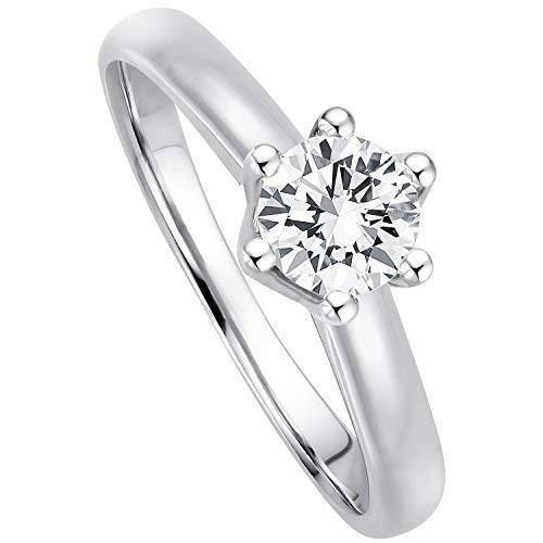 Juwelier Gelber Diamant Ring aus 585 14 Kt Weißgold mit Filigrane Fassung Brillant Schliff Lupenrein (56 (17.8), 0.40)