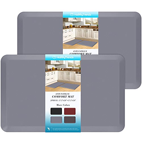 HappyTrends 2 PCS Kitchen Mat Cushioned Anti-Fatigue Floor Mat, Heavy Duty Ergonomic Comfort Foam Standing Mat, Waterproof Non-Slip Kitchen Rugs for Home, Office, Laundry,Grey