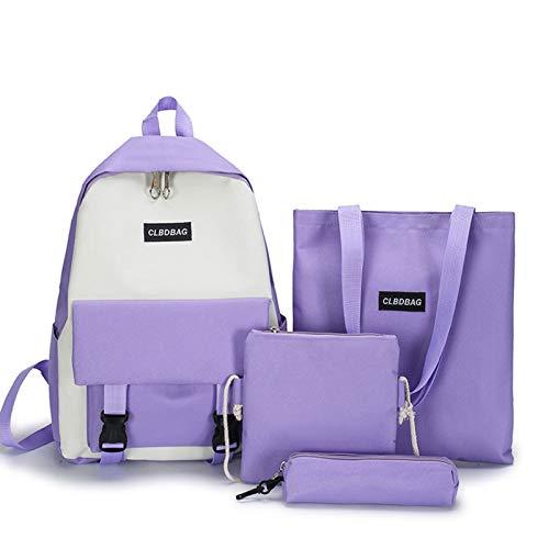 Qingxin Juego de mochila escolar con cierre de cremallera, 4 unidades, impermeable, con estuche y 2 bolsas de hombro
