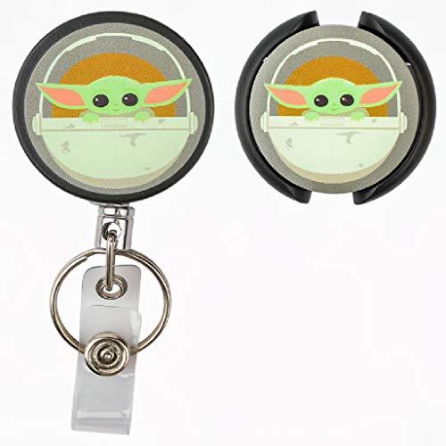 YSNUO 2Pcs- Retractable ID Card Badge Holder with Alligator Clip, Cute for Baby -Yoda Man-dalorian Office Employee Name Badge Space Print Stethoscope Tag, Nurse Doctor Stethoscope ID Tag (Baby-YD)