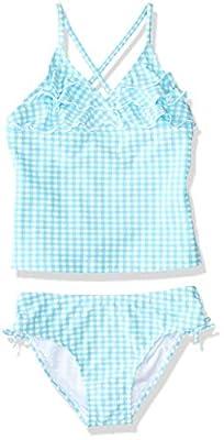 Tommy Bahama Girls' Two-Piece Bikini Swimsuit Bathing Suit, Blue Gingham Ruffle, 4T