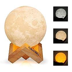 Albrillo LED Mond Lampe - 10cm 3D Mondlicht mit Touch Sensor, 3 Farbe Auswählbar und dimmbar Nachtlicht, USB Wiederaufladbar als Deko und Geschenke, 12.5um Oberflächengenauigkeit