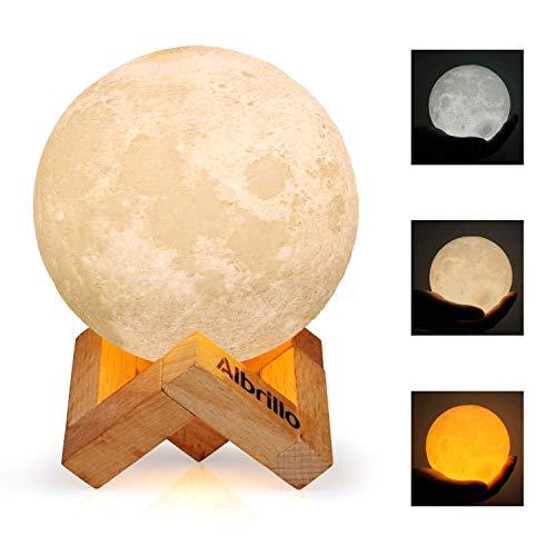 Albrillo Lámpara de Luna 3D - Luz Nocturna LED Lámpara de Lunar 10cm Regulable con 3 Colores, Control Táctil e USB Recargable, como Regalo o Decoracion