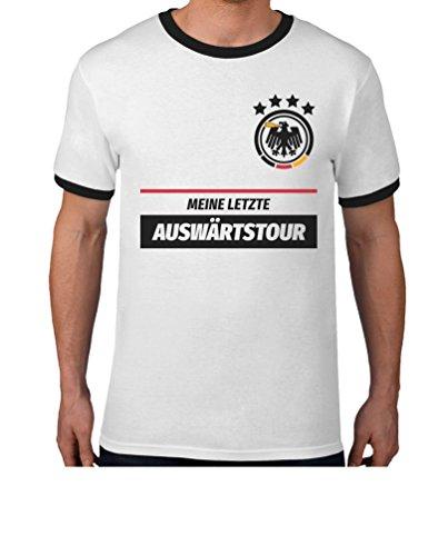 JGA Shirt Mijn laatste uitwedstrijd met gewenste datum op achterkant combi T-shirt