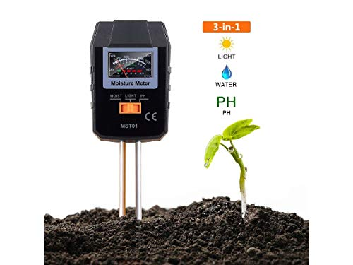 TACKLIFE Soil Test Kit 3-in-1 Soil Moisture Meter for Moisture Light and PH Ideal for Garden Plant Farm Lawn Indoor & Outdoor (No Battery Needed) - MST01
