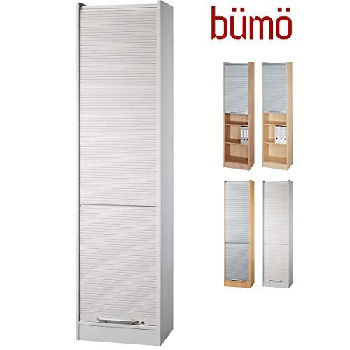 bümö® Aktenschrank mit Rollladen | Rollladenschrank für Aktenordner | Büroschrank für Akten | Büromöbel | Rolladenschrank in 5 Farben (Grau/Grau)