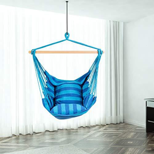 RELAX4LIFE Hängesessel, Hängesitz mit 2 abnehmbaren Kissen, Hängestuhl mit dickem Seil, Hängeschaukel für Kinder & Erwachsene, für Balkon & Wohnzimmer, bis zu 160 kg belastbar, waschbar (Hellblau) - 7