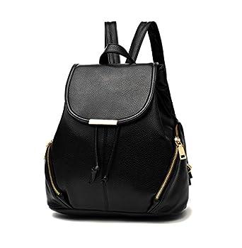 Backpack Purse Women PU Leather Fashion Drawstring Casual Anti-theft Ladies Flap Backpacks Travel Rucksack Black