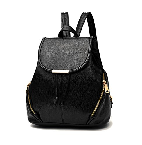 Aiseyi Backpack Purse for Women Fashion Leather Designer Travel Ladies Shoulder Bags (Black)