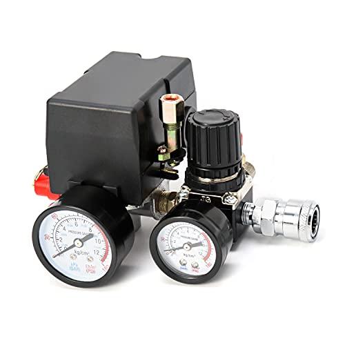QWORK Air Compressor Pressure Switch Control Valve, 90-120PSI Pressure Regulator with Pressure Gauges Fittings Set