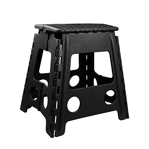 Usmascot Klappbarer Hocker - bis 160 kg - Tragbarer Tritthocker, Rutschfester, Platzsparender Tritt Steigleiter - 39x32x39cm (Schwarz, XL)