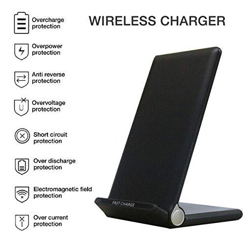 DZSF 20W Qi sans Fil Pliant Vertical Rapide Chargeur De Charge Support Haute Puissance Accueil Support pour Tous Les Téléphones Qi-Activés,Noir