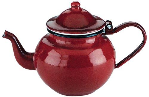 Ibili Teekanne Roja 0,75 l aus emailliertem Stahl in rot, 10 x 10 x 20 cm, 0.75 L