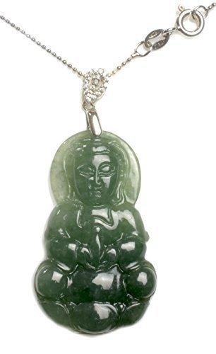Damen Mercy Buddha Chinesen Jade Kette Mit Anhänger 17 Zoll, Buddha 40x 23mm x 5mm Fortune Jade Schmuck