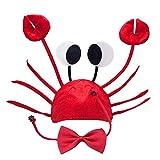 Lifreer Chapeau Crabe Réglable Chapeau Crabe Rouge Costume Chapeau Fantaisie + Vin Rouge Nœud Papillon pour Halloween Noël Pâques Fête Décoration Adulte Garçons Filles