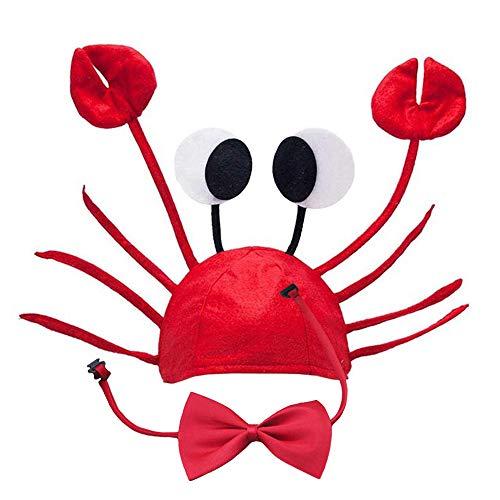 Lifreer Krabbenmütze, verstellbare rote Krabbe Hut Kostüm Fancy Hüte + Rotwein Fliege für Halloween Weihnachten Ostern Party Dekoration Erwachsene Jungen Mädchen