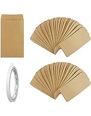 Dadabig 120 szt. małe brązowe koperty, vintage koperty z kraftu koperty monety pakiety nasion małe części koperty z dwustronną taśmą na monety biżuteria nasiona lub cukierki, brązowe