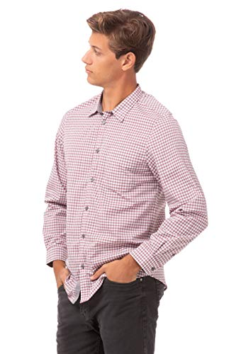 Chef Works Men's Modern Gingham Long Sleeve Dress Shirt, Chili Peppers, Large