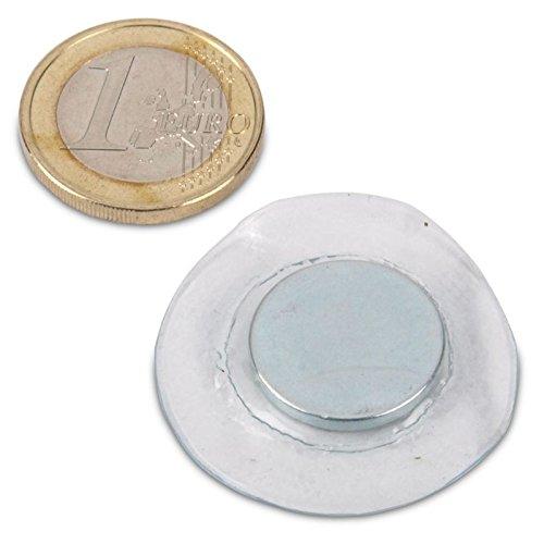 Magnastico Neodym Scheibenmagnete 18 x 2mm zum Einnähen 10er Set in Runder PVC Hülle Supermagnete für Kleider Magnete extra Stark Rund zum Basteln und nähen