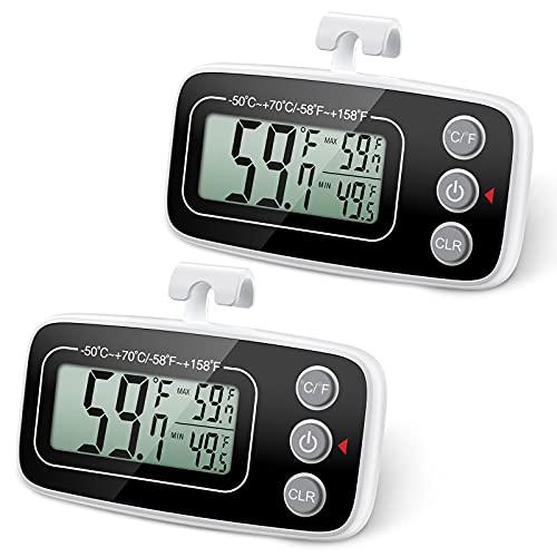 Brifit Kühlschrank Thermometer, Wasserdicht Gefrierschrank Thermometer, Kühlschrankthermometer Digital, Zimmerthermometer mit Haken, LCD Display lesen, Max Min Rekord Funktion (Schwarz, 2Pack)