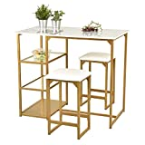 Allewie 3-Piece Counter Height Dining Table Set Kitchen Dining Pub Bar Table with 2 Upholstered Stools & 3 Open Storage Shelves