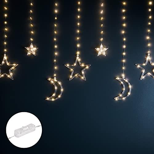 Lights4fun Cortina Luminosa Decorativa de Lunas y Estrellas con 128 Micro LED Blancos Cálidos para Interiores