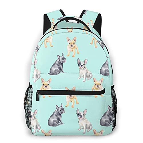 Watercolor French Bulldog Backpack All Over Print Daypack Casual Travel Book Bag