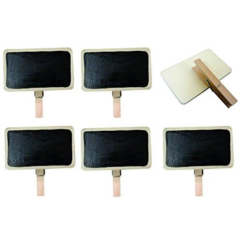 6x Mini Tafel mit Klammer 9x5,5cm - Namenschild Tischkarten Platzkarten für Hochzeit Geburtstag