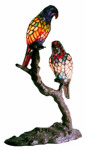 Warehouse of Tiffany's 1600x2-BB449 Tiffany-Style Exotic Birds Accent Lamp