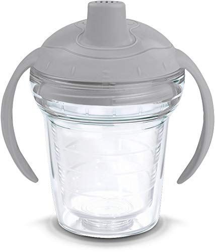 Tervis 1178383 Clear Tumbler with Wrap and Moondust Gray Lid 6oz My First Tervis Sippy Cup,...