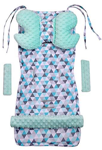 Universal Sitzauflage Kinderwagen & Buggys Sitzeinglage Kinderwagendecke 5tgl Gurtpolster + Spielbogen Kinderwagenset MINKY Baumwolle Medi Partners (minze Dreiecke min minzer Minky)