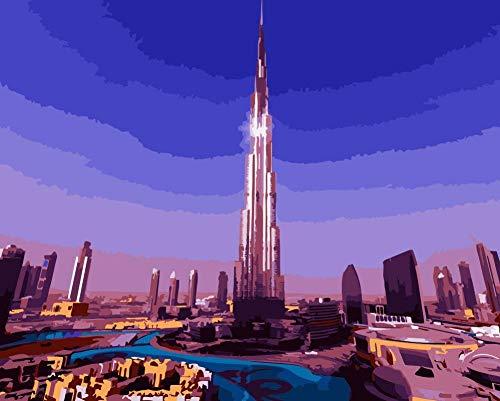 WLHZNBH Malen nach Zahlen Burj Khalifa Turm Nacht Landschaft Bild Anfänger DIY Ölgemälde Kinder Erwachsene Malen Nach Zahlen 40 * 50 cm (A) Rahmenlos